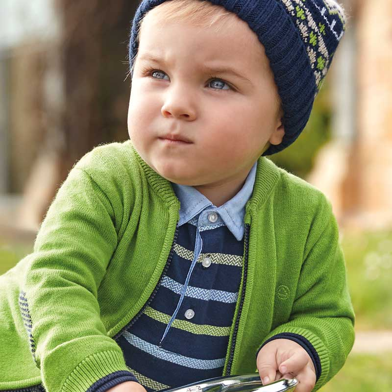 Mayoral Baby Boy AW19 Long sleeved formal striped polo shirt 2108 (4339993444450)