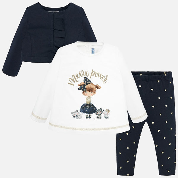 Mayoral Baby Girl AW19 Navy Jacket, t-shirt and leggings set 2742