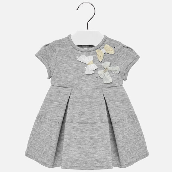 Mayoral Baby Girl AW19 Grey Applique bow dress 2911 (4168537997410)