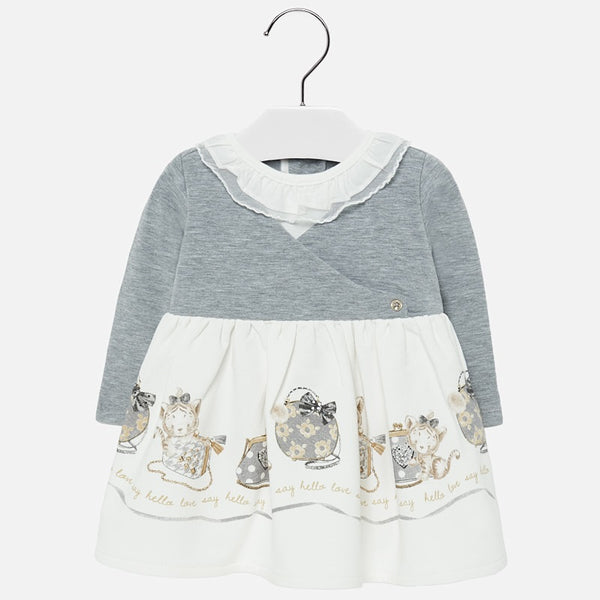 Mayoral Baby Girl AW19 Grey Combined dress 2913 (4168538685538)