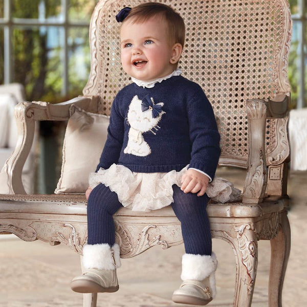 Mayoral Baby Girl AW19 Navy Kitten Tulle dress 2922 (4168531705954)