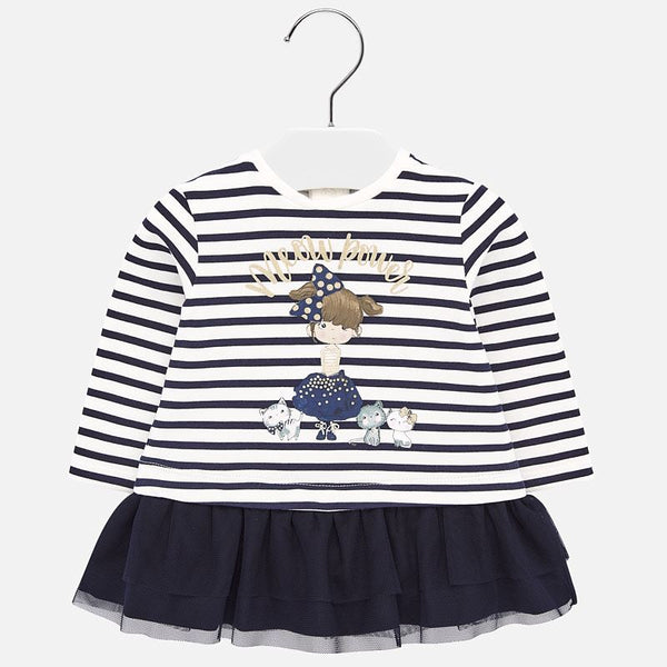 Mayoral Baby Girl AW19 Navy Striped Dress 2924 (4168528461922)