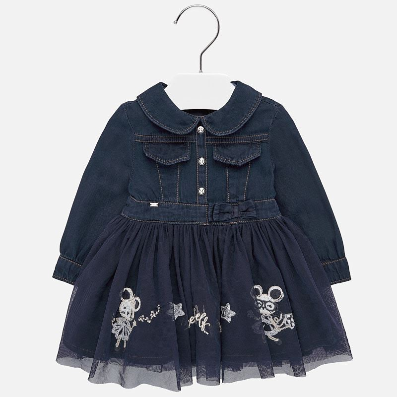 Mayoral Baby Girl AW19 Embroidered denim dress 2925 (4168526692450)