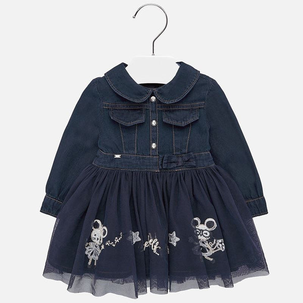 Mayoral Baby Girl AW19 Embroidered denim dress 2925