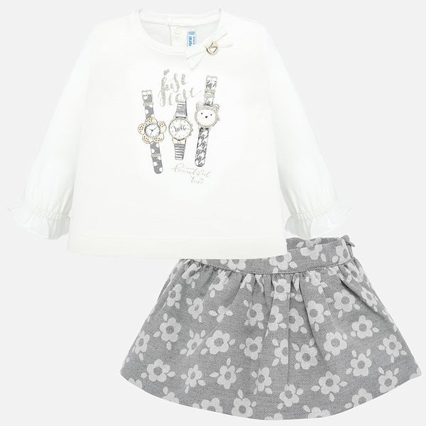 Mayoral Baby Girl AW19 Skirt and Watches t-shirt set 2935