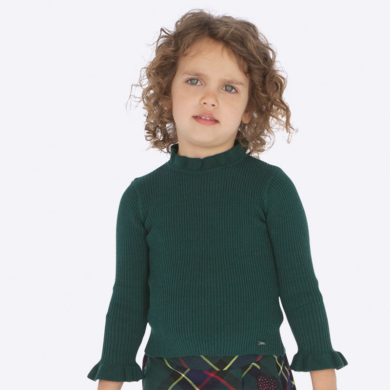 Mayoral Girl AW19 Green Tricot Mock Sweater 4003 (3874658123874)