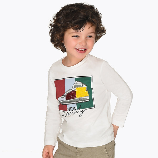 Mayoral Boy AW19 Long sleeved t-shirt Cream 4027