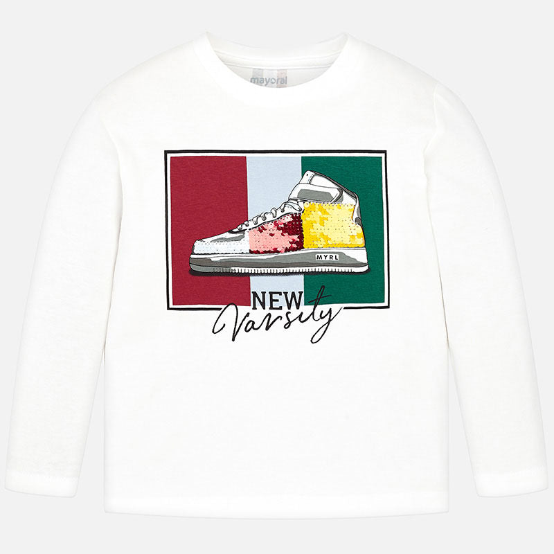 Mayoral Boy AW19 Long sleeved t-shirt Cream 4027 (3968031293538)
