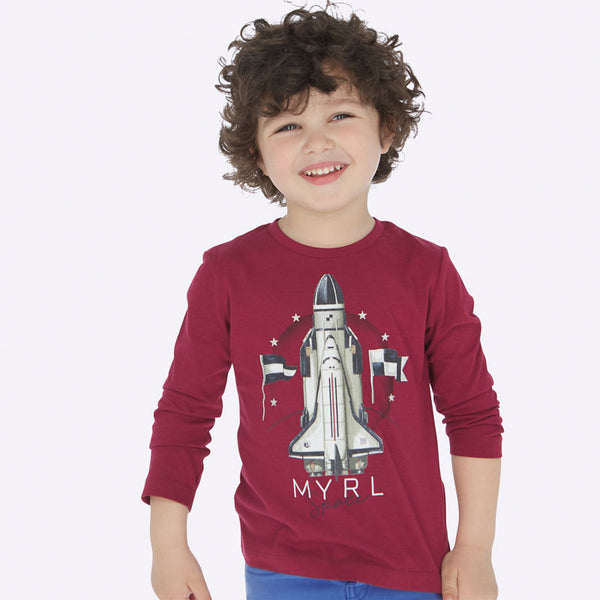 Mayoral Boy AW19 Long sleeved rocket t-shirt Purple 4029