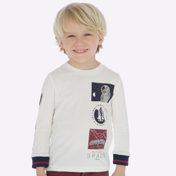 Mayoral Boy AW19 Long sleeved space t-shirt Cream 4030