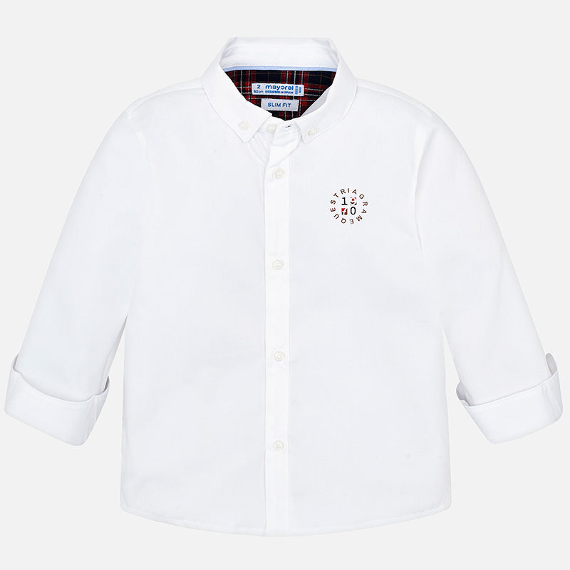 Mayoral Boy AW19 Long sleeved logo shirt White 4120 (3968035487842)