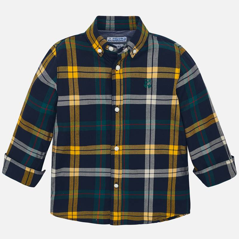 Mayoral Boy AW19 Long Sleeved Mustard Checked Shirt 4122 (3968027852898)