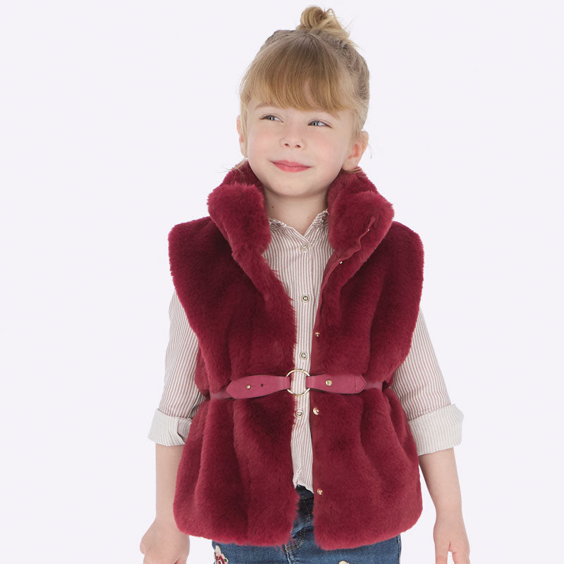 Mayoral Girl AW19 Ruby faux Fur Gilet 4307 (3874640592994)