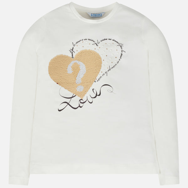 Mayoral Girl AW19 White Long Sleeved Heart Top 7010 (3878596640866)