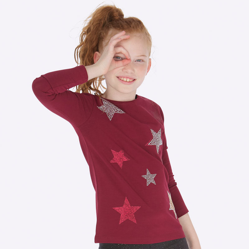 Mayoral Girl AW19 Long Sleeved Ruby Star Top 7019 (3878606143586)