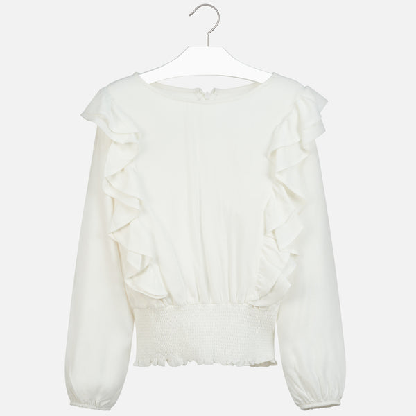 Mayoral Girl AW19 White Ruffled Blouse 7105 (3923573145698)