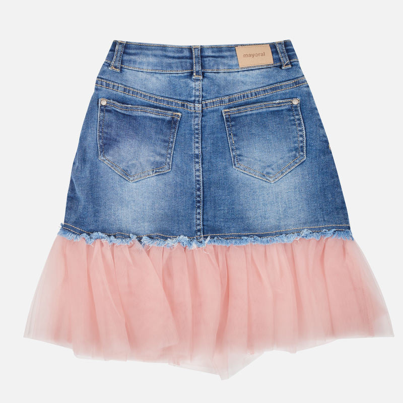Mayoral Girl AW19 Roses Denim Tulle Skirt 7910 (3878565445730)