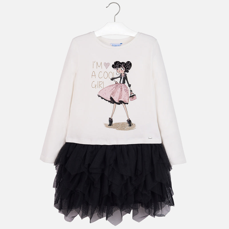 Mayoral Girl AW19 White & Black Tulle Dress 7926 (3878456262754)
