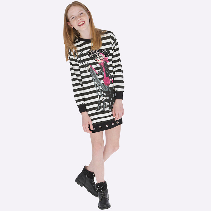 Mayoral Girl AW19 Black Striped Dress 7938 (3878474088546)