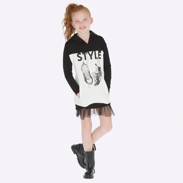 Mayoral Girl AW19 Black & White Style Dress with Hood 7942 (3878509903970)