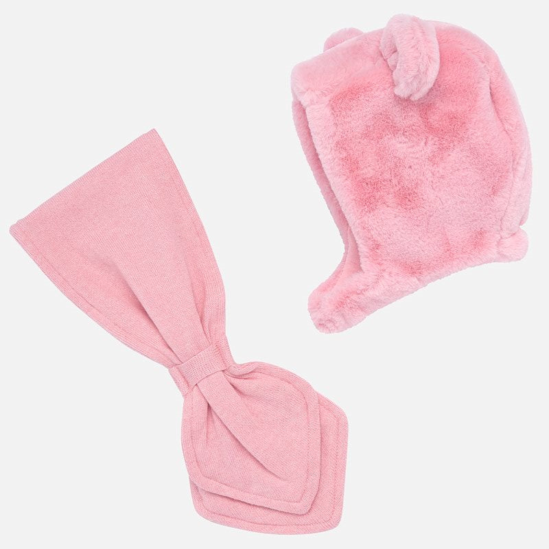 Mayoral Baby Girl AW19 Pink Faux fur hat and scarf set 10646 (4168546615394)