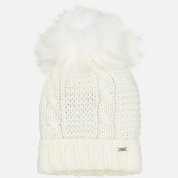 Mayoral AW19 Knitted Pom Hat Cream 10706