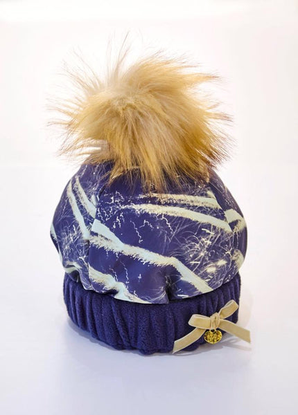 A Dee 'Andi' With Love from Paris Navy & Gold Print Hat with Faux fur Pom - 4920 - Bumkins Designer Kids
