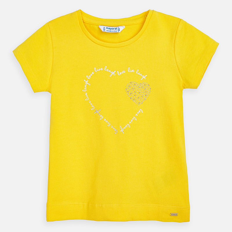 Mayoral Girl SS20 Heart T-Shirt Yellow 174 (4360578564194)