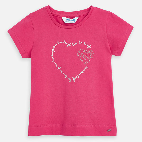 Mayoral Girl SS20 Heart T-Shirt Fuchsia 174 (4360580530274)