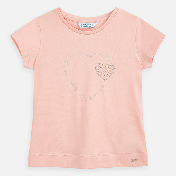 Mayoral Girl SS20 Heart T-Shirt Peach 174 (4360580923490)