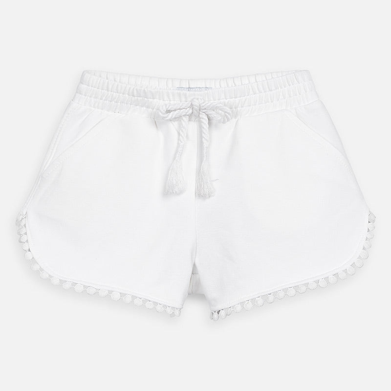Mayoral Girl SS20 Knit Shorts White 607 (4360585019490)