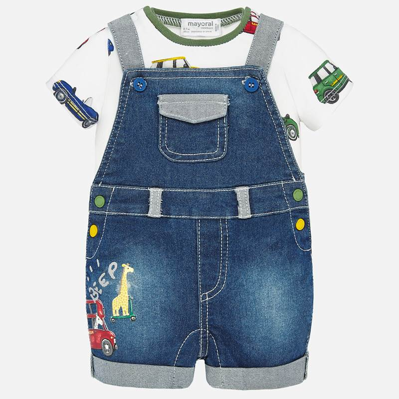 Mayoral Baby Boy SS20 Denim dungaree and patterned t-shirt set 1680 (4370755092578)