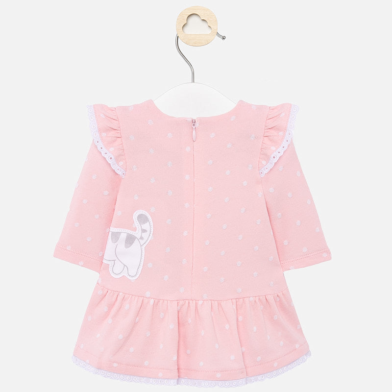 Mayoral Baby Girl SS20 Pink Kitten print dress 1858 (4370677137506)