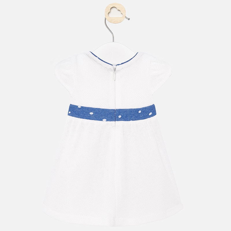 Mayoral Baby Girl SS20 Dress with Bow Design White 1860 (4370674909282)