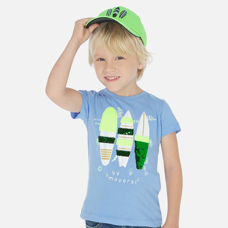 Mayoral Boy SS20 Short sleeved surfboard t-shirt with sequins 3066 (4368416374882)