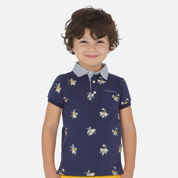 Mayoral Boy SS20 Short sleeved patterned polo shirt  3146 (4368320954466)