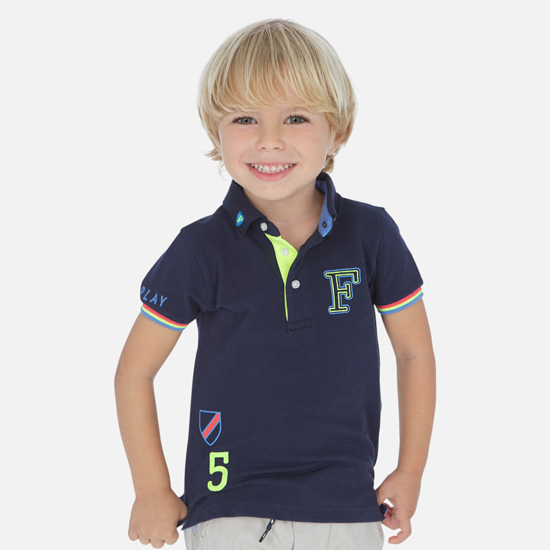 Mayoral Boy SS20 Short sleeved polo shirt with print Navy 3154 (4368488366178)
