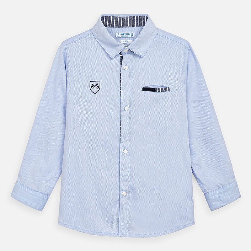 Mayoral Boy SS20 Long sleeved formal shirt with elbow patches 3171 (4368322494562)