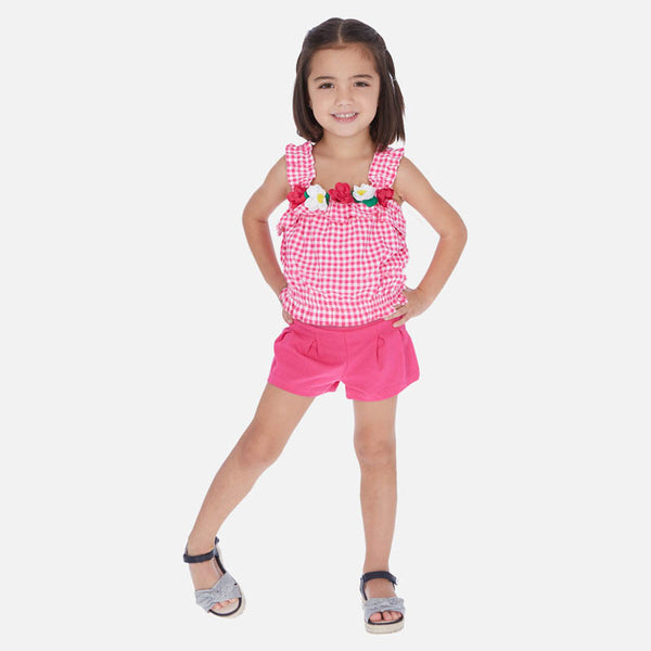 Mayoral Girl SS20 Sleeveless gingham t-shirt and Fuchsia shorts set 3285 (4353821311074)