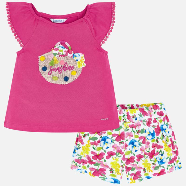 Mayoral Girl SS20 Fuchsia Top and Floral Shorts Set 3293 (4353821638754)