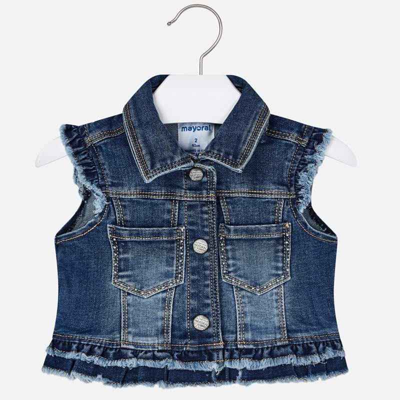 Mayoral Girl SS20 Dark Denim Sleeveless Jacket 3322 (4353818427490)