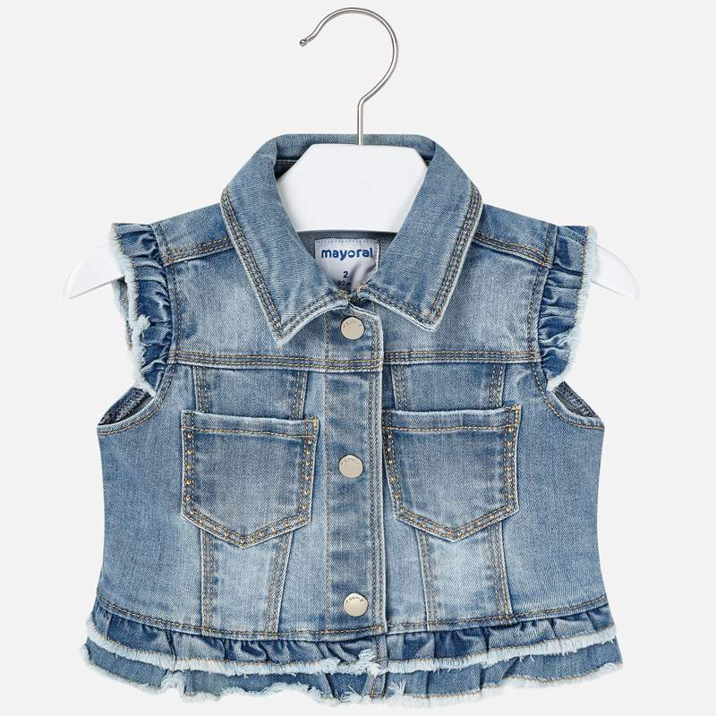 Mayoral Girl SS20 Light Denim Sleeveless Jacket 3322 (4355202089058)
