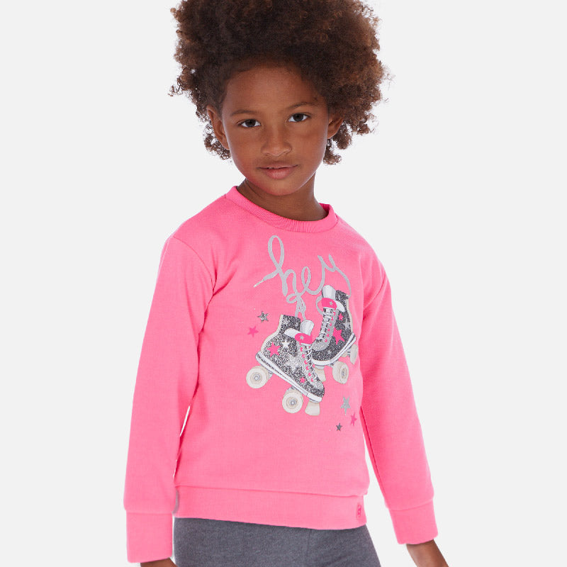 Mayoral Girl SS20 Sweatshirt with roller-skates print Pink 3462 (4360559984738)