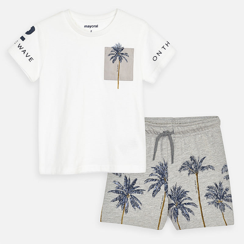 Mayoral Boy SS20 T-shirt and Palm tree design shorts set 3623 (4368310075490)