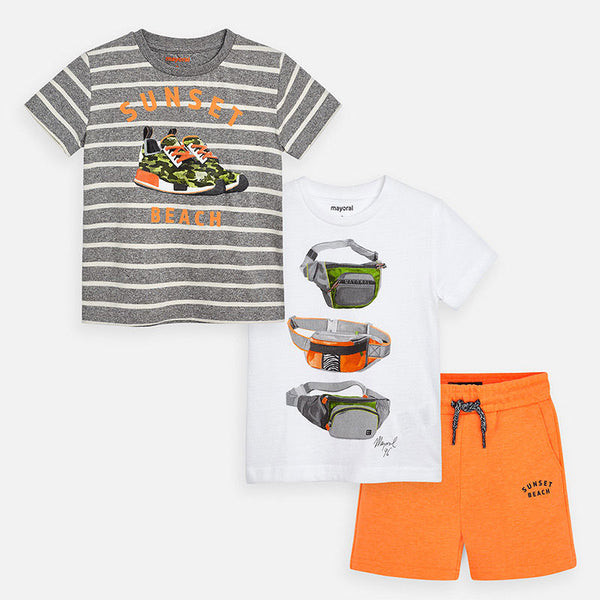 Mayoral Boy SS20 3 Pc Patterned t-shirts and shorts set 3624 (4368474832994)
