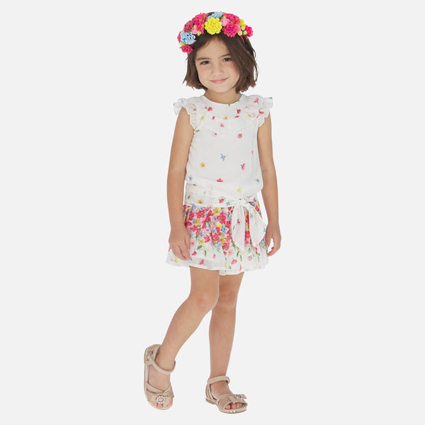 Mayoral Girl SS20 Strawberry Floral chiffon playsuit 3815 (4353820885090)