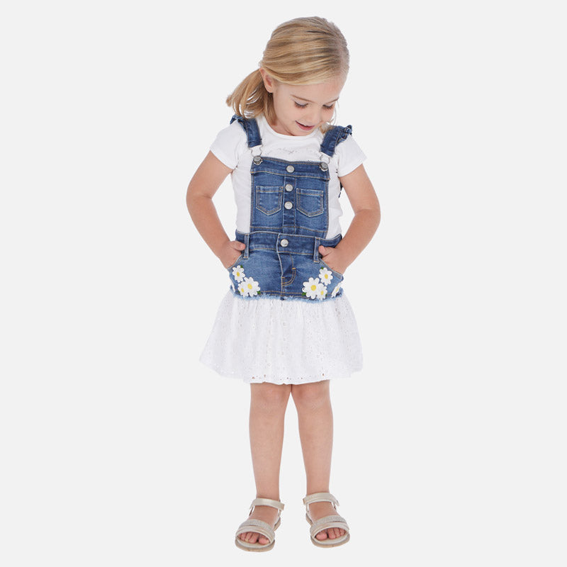 Mayoral Girl SS20 Combined skirt dungarees with daisies 3909 (4353819050082)