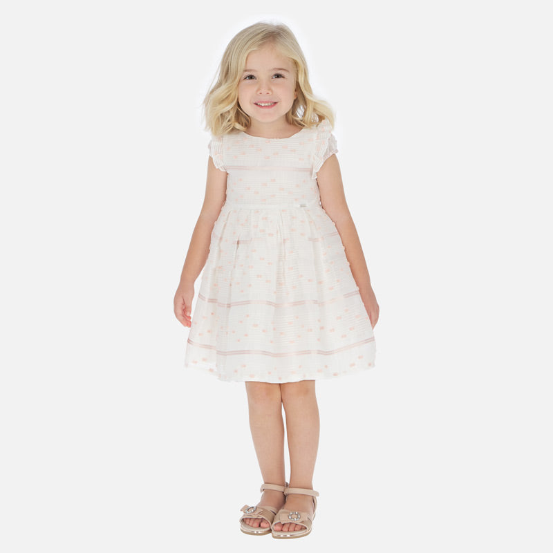 Mayoral Girl SS20 Peach striped ruffle Organza Dress 3919 (4360572600418)