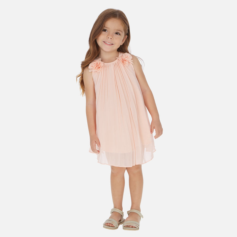 Mayoral Girl SS20 Peach Pleated Dress 3922 (4360574632034)