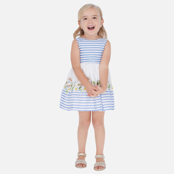 Mayoral Girl SS20 Blue Stripe and Floral dress 3941 (4353817837666)